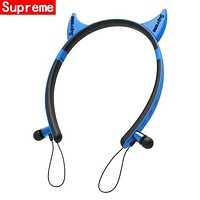 Cute Ear Wireless Magic Sound Bluetooth Wireless Hands Headset MP3 Music Headphone with Microphone Line-in Socket TF Card Slot Blue