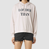 ALLSAINTS US: Womens Louder Lo Hoody (OYSTER WHITE)