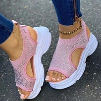 Women Sandals Female Shoes Woman Wedge Comfortable Sandals Crystal Bling Ladies Slip On Flat Sandals Women Sandalias