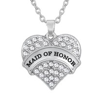 My shape white crystal stone engrave Maid of honor on heart wedding romantic pendant gift necklaces jewelry