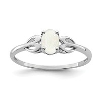 Sterling Silver Created Oval Opal Heart Design Ring