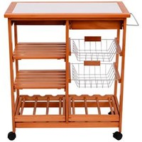 Rolling Kitchen Trolley with Wine Rack