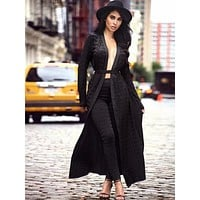 Ellie Jacquard Black Bandage Cape Set