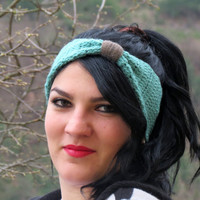 Knotted Headband Knitted Turband Ear Warmer in Mint. Ear Warmer, Head Dress, Winter Fashion, Hair Bands Hair Coverings for Women