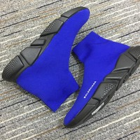 Balenciaga Speed In Blue Knit And Black Sole Unit Trainers - Best Online Sale