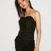 Metallic Dot Side-Tie Ruched Tube Top