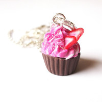Cupcake Necklace Polymer Clay Strawberry Raspberry Candy Sprinkles Topping Silver Red Brown Pink, Kawaii Cute Jewelry