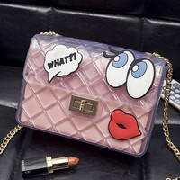 Casual Sheer Fabric Cartoon Eyes Chain Crossbody Bag