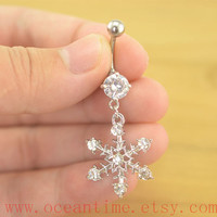 snowflake Belly Button jewelry,diamond snowflake Navel Jewelry, belly button rings,girlfriend gift,wonderful jewelry,oceantime