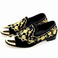 Men Fashion Suede Leather Loafers Embroidery Driving Party Flats Men's Moccasins Oxfords Casual Shoes