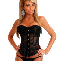 Strapless Lace Corset Black Md