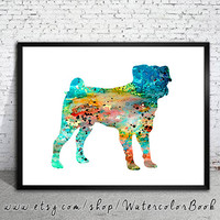 Pug dog 5 Watercolor Print, Children's Wall, Art Home Decor, dog watercolor, watercolor painting, pug art, animal watercolor, pug poster