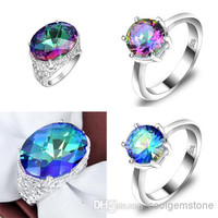 Carnival Masked Ball genuine colorful mystic topaz Antique Silver 925 Charms Rings 4pcs lot Z0002