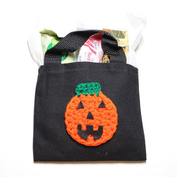 Halloween Trick Or Treat Bag, Pumpkin Mini Gift Bag, Jack O Lantern Goodie Bag, Candy Tote