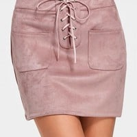 High Waist Lace Up Faux Suede Skirt