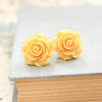 Yellow Rose Earrings Rose Post Earrings Rose Stud Earrings Surgical Steel Posts Bridal Floral Accessories Flower Jewelry Friendship Gift