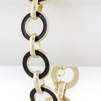 Black & Gold Circle Chain Bracelet