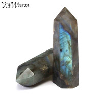 2pcs Natural Fluorite Labradorite Quartz Crystal Wand Point Healing Degaussing Gemstone For DIY Crafts Pendant Home Decor