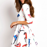 Summer Vintage Trendy Multicolor Bird Skater Dress