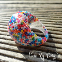 Hundreds and Thousands Sweets Retro Kitsch Big Chunky Ring Resin Candy