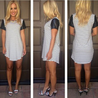 Stripe Print Short Sleeve Leather Mini Dress
