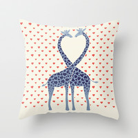Giraffes in Love - a Valentine's Day illustration Throw Pillow by micklyn