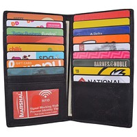 RFID Blocking Bifold Credit Card ID Holder Hunter Leather Wallet for Men & Women