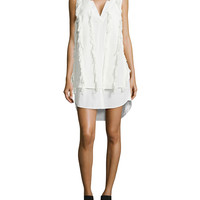 Women's V-Neck Poplin Shirtdress with Fringe - Derek Lam 10 Crosby - Soft white