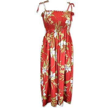 bamboo orchid red hawaiian moonkiss short dress