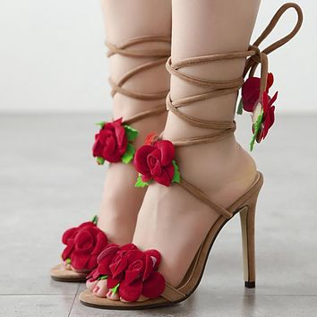 New rose cross-lacing high heel sandals shoes