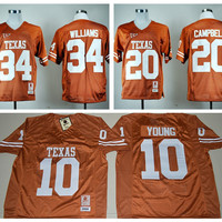 2016 Texas Longhorns Jersey NCAA College Retro 34 Ricky Williams Football Jerseys 20 Earl Campbell 10 Vince YOUNG Throwback Orange Quality