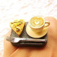 Coffee Food Ring Banana Pie Miniature Food by SouZouCreations