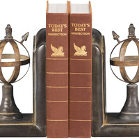 0-013480>Pair Arrow and Sphere Bookends Brown