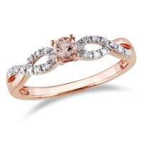 3.5mm Morganite and Diamond Accent Twine Promise Ring in Rose Rhodium Plated Sterling Silver