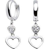 14kt White Gold CZ  Dual Heart Huggy Earrings
