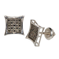 Black Diamond Stud Earrings .10 ct Sterling Silver Kite Shaped with Screw Backs