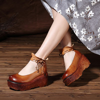 Spring Genuine Leather Women Pumps Platform Wedges Round Toes Ankle Strap Back Zip High Heel Women Shoes