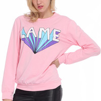 ROMWE LAME Printed Pink Pullover