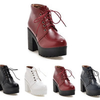 Womens Edgy Platform High Heel Boots