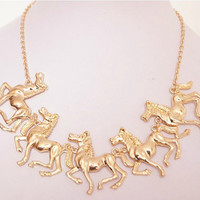 Gold/black/white horse Necklace Chain Necklace Gift Trending Accessories