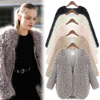 Women Long Sleeve Fluffy Faux Fur Cape Coat Jacket Winter Thick Cardigan Outwear