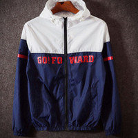 Fashion Unisex Lover's The North Face Sports Coat Windbreaker Blue white contrast