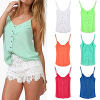 Spring Women Blouse Candy Color Lady Shirts Sexy Chiffon Blouse Vest = 1958324484