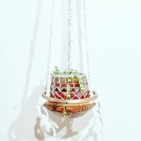 Shabby Chic Hanging Planter- Wall Accent- Bohemian Decor- Dorm Decor~ Planter~ Modern Macrame- White Wall Accent- Boho Home Decor-  BohoChic