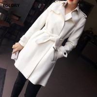 New 2017 Fashion Winter Long Coats Women Turn-down Collar Covered Button Warm Thick Wool Cashmere White Long Coats Outwear Lady