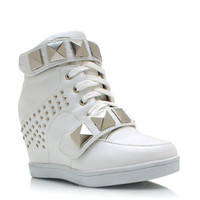 Studded-Pyramid-Wedge-Sneakers MINT WHITE - GoJane.com