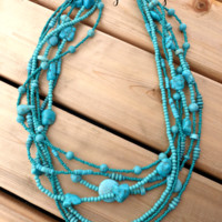 Turquoise  howlite stone, glass beads and copper necklace. Layered bohemian jewelry.