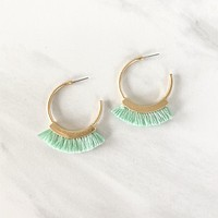 Break It Down Fringe Earring in Mint