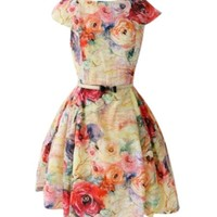 Retro Floral Print Dress with Fitted High Waist