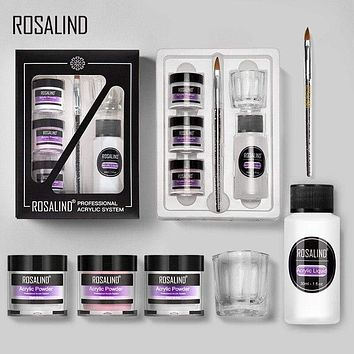 Rosalind Acrylic powder Set Nail Kit 3 Colors Carving Nail Art Gel For Extension Manicure Tools Set Acrylic powder for Nails